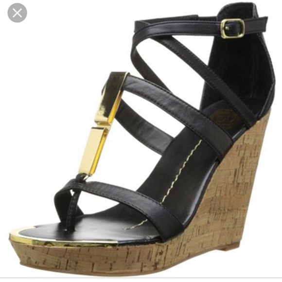 65a1a50b588 Dolce Vita Tabby Black wedge sandals, gold accent